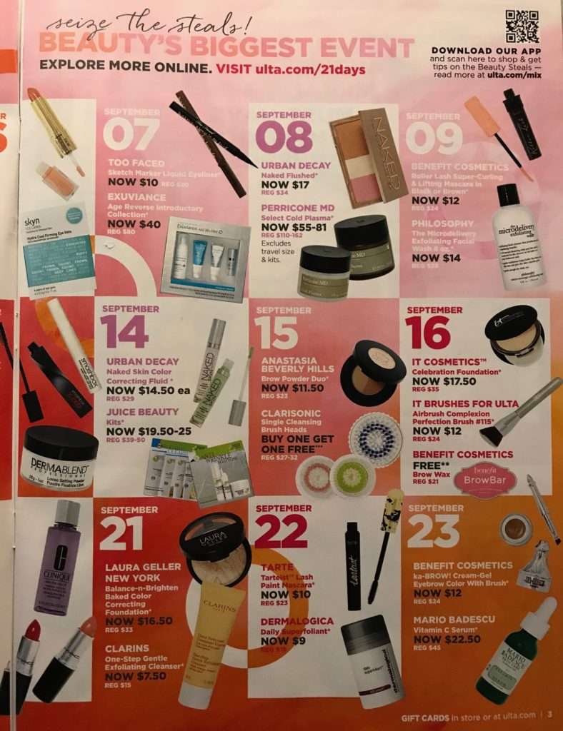 Ulta 21 Days of Beauty Fall 2017 calendar, page 2, neversaydiebeauty.com