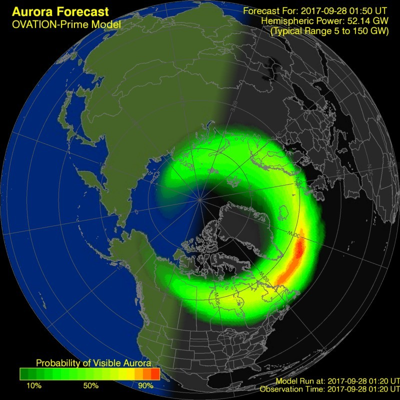 map showing where the aurora might be seen at a given time