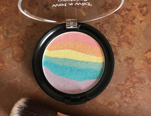 Wet N Wild Color Icon Rainbow Highlighter, shade Unicorn Glow, open to show colored stripes, neversaydiebeauty.com