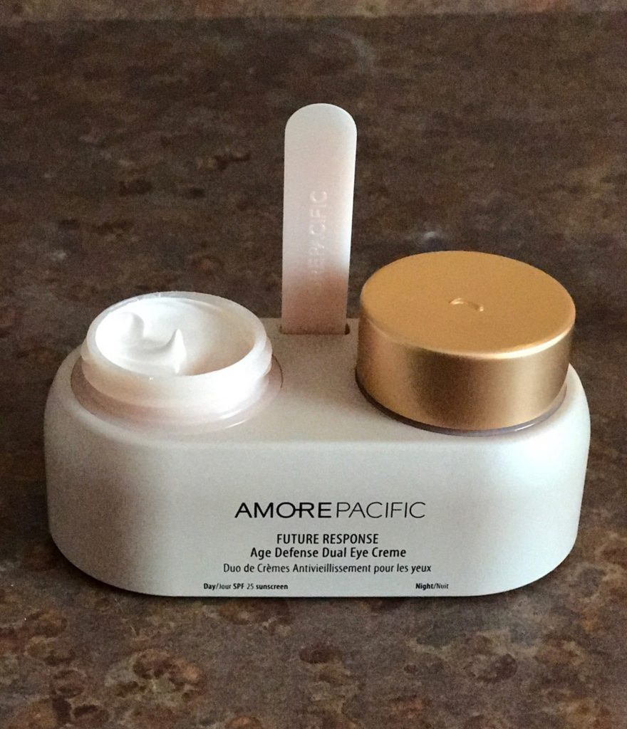 open jar of AmorePacific Future Response Age Defense Dual Eye Creme to show the day cream, neversaydiebeauty.com