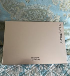 rose gold inner storage box for the AmorePacific Future Response Age Defense Kit, neversaydiebeauty.com