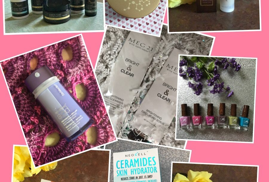 collage of mostly skincare products I'll be reviewing soon, neversaydiebeauty.com