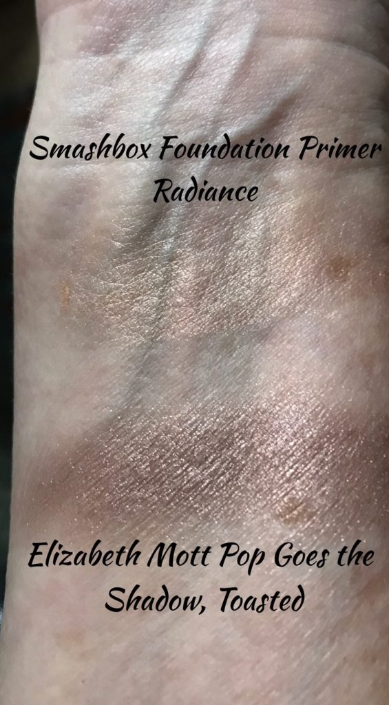 swatches of Smashbox Photofinish Foundation Primer in Radiance & Elizabeth Mott eyeshadow in Toasted, neversaydiebeauty.com