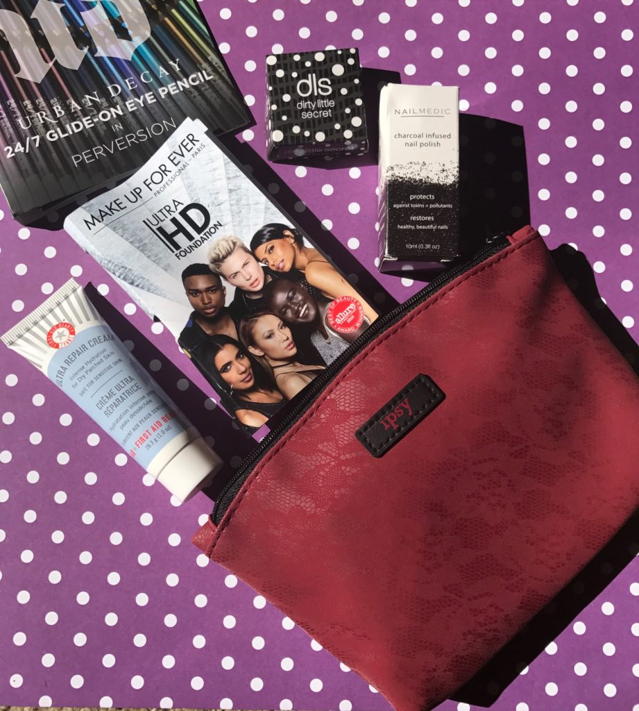 "Ipsy makeup bag and contents, ""Spellbound"" for October 2017, neversaydiebeauty.com"