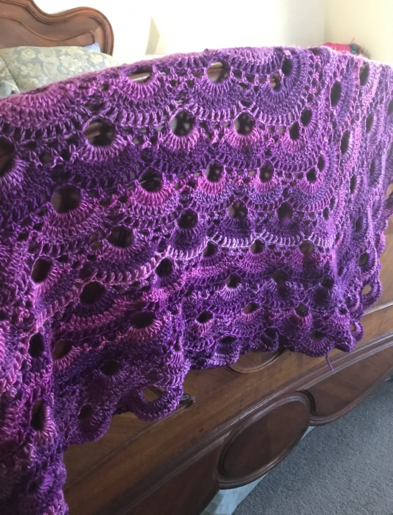 crocheted virus shawl made with Red Heart's Unforgettable yarn in Petunia, pink/purple shades, neversaydiebeauty.com
