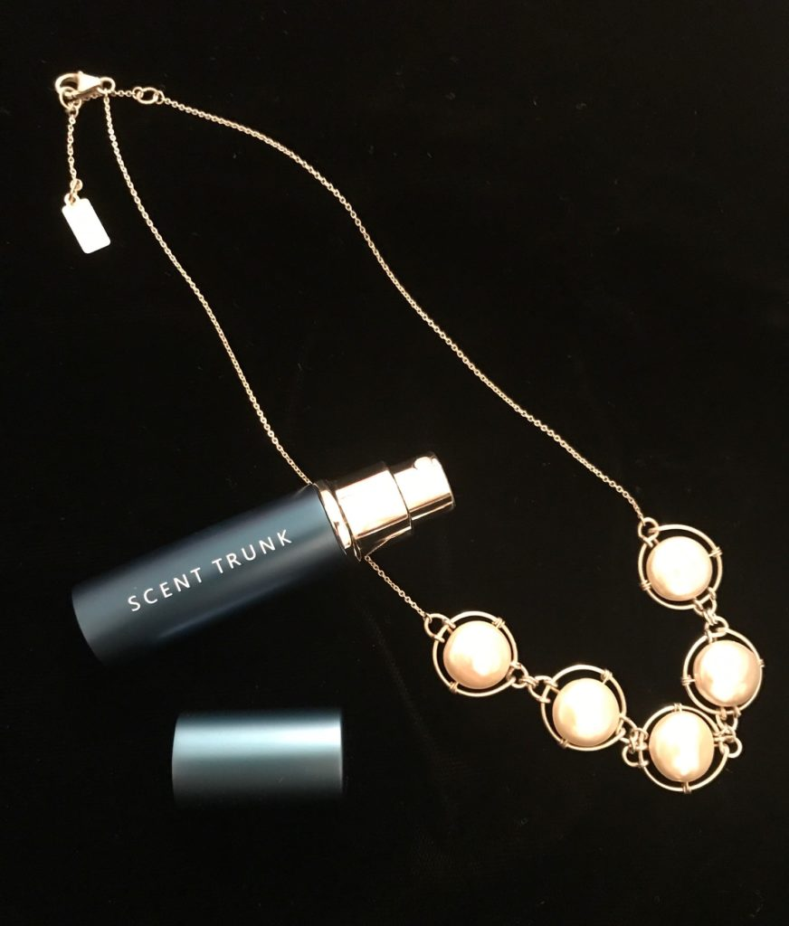 Scent Trunk fragrance atomizer with my pearl necklace, neversaydiebeauty.com
