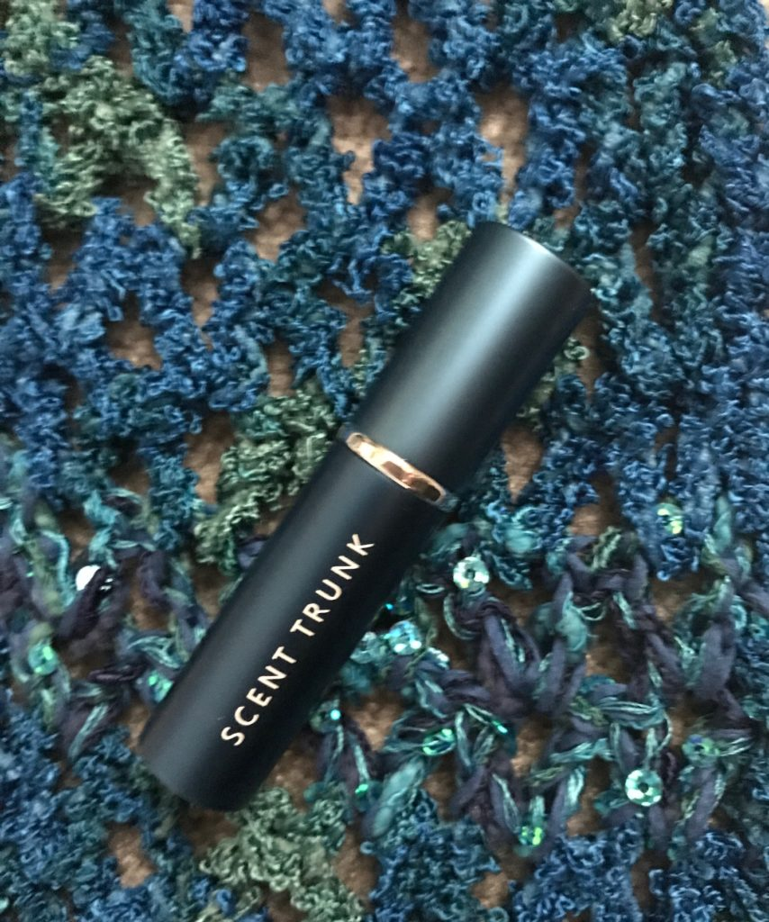 Scent Trunk teal metallic fragrance atomizer, neversaydiebeauty.com
