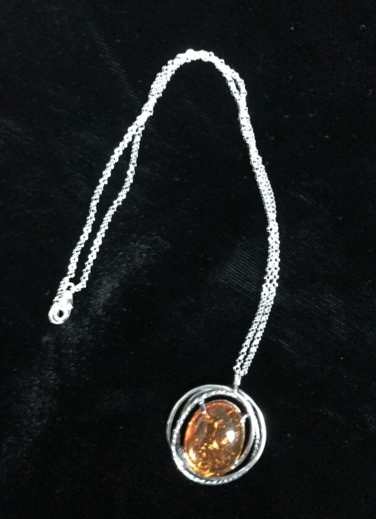 amber pendant sterling silver necklace from Uno Alla Volta, neversaydiebeauty.com
