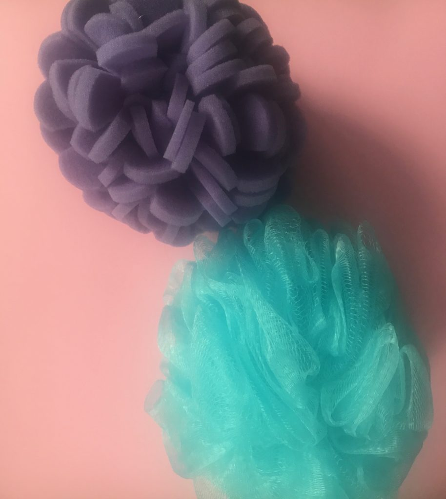 used bath poof and ViaBuff Exfoliator for Body, neversaydiebeauty.com