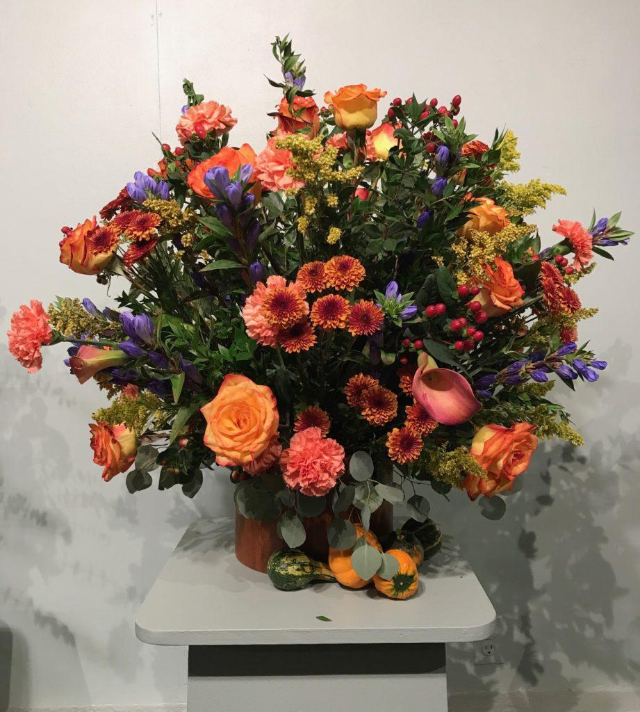 orange floral arrangement Topsfield Fair 2017, neversaydiebeauty.com