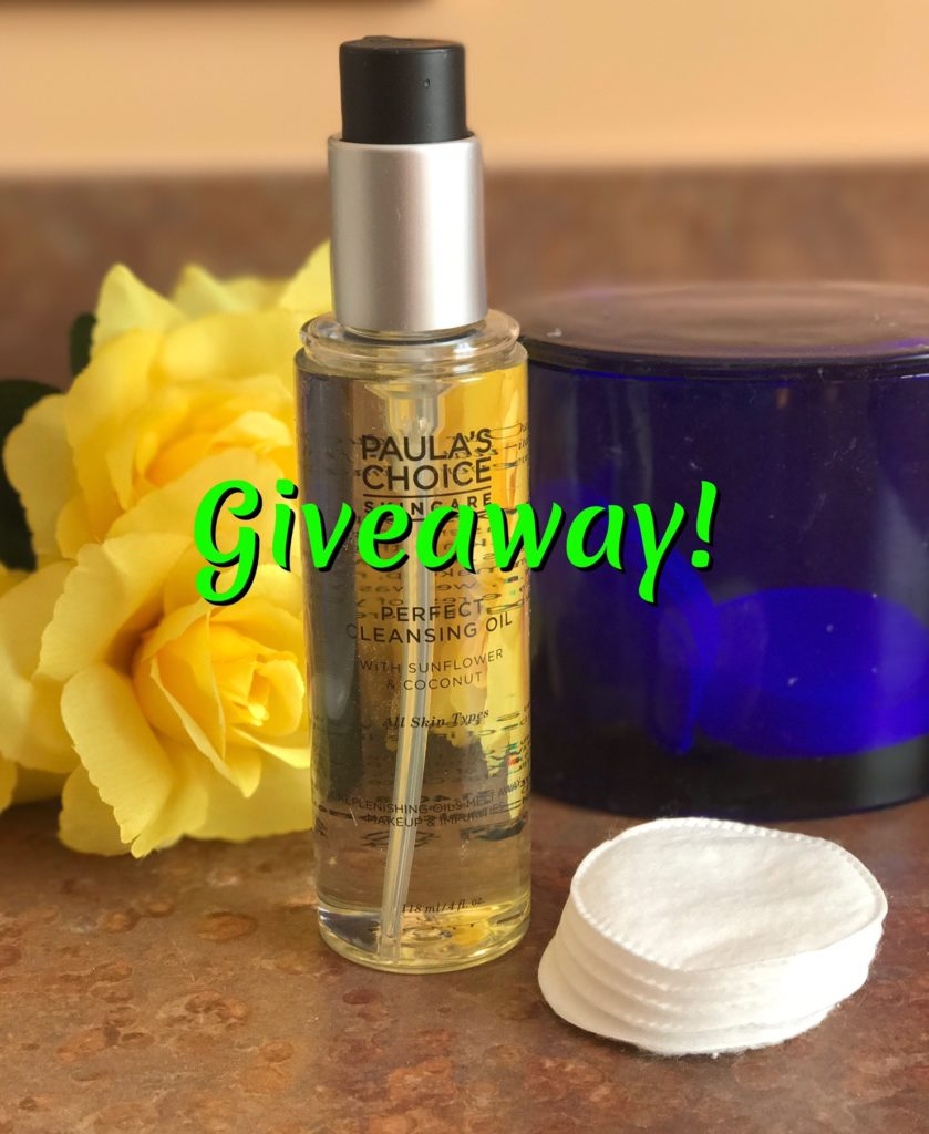 Paula's Choice Perfect Cleansing Oil with giveaway title, neversaydiebeauty.com