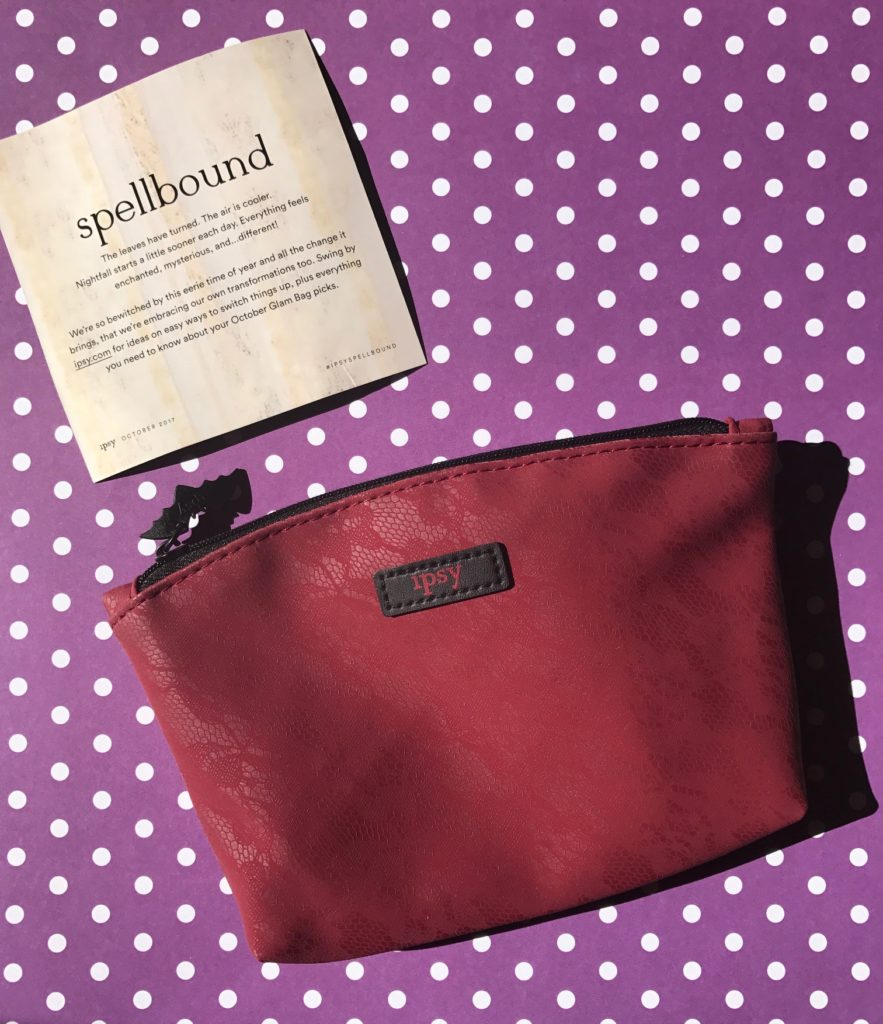 Ipsy Spellbound makeup bag and theme card, neversaydiebeauty.com