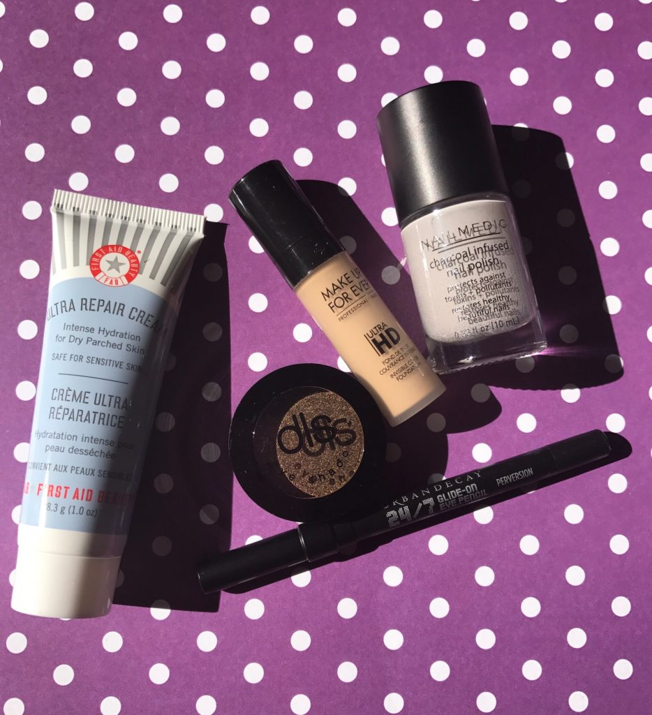 "makeup, nail polish & skincare products I got in my Ipsy ""Spellbound"" bag October 2017, neversaydiebeauty.com"