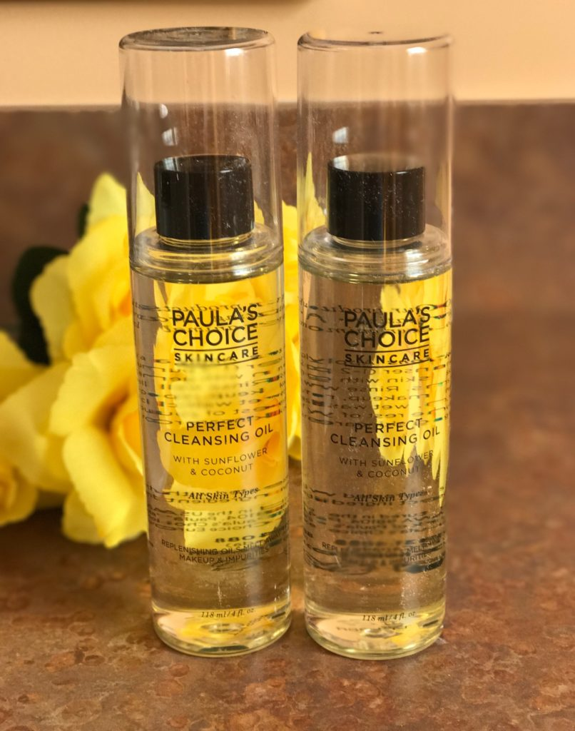 two bottles of Paula's Choice Perfect Cleansing Oil, neversaydiebeauty.com