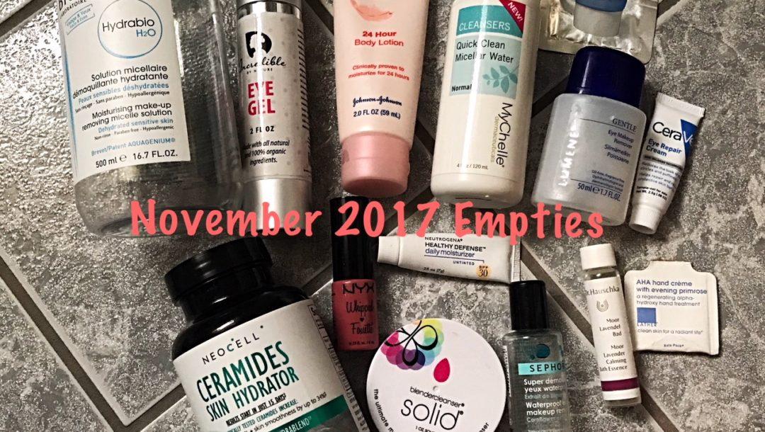 beauty empties for November 2017, neversaydiebeauty.com