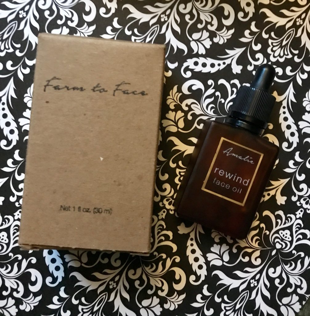 Amalie Beauty REWIND Face Oil amber bottle and outer packaging, neversaydiebeauty.com