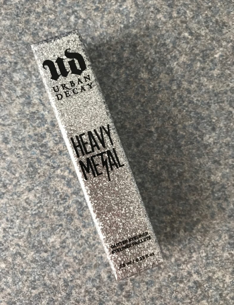 Urban Decay Heavy Metal Glitter Liner, silver outer box, neversaydiebeauty.com