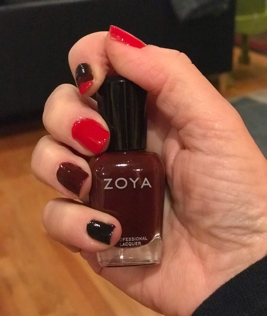multi manicure with 3 Zoya nail polishes: Raven, Claire, Snooki, neversaydiebeauty.com