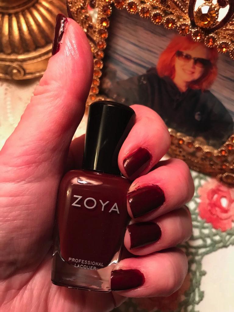 Zoya nail polish, shade Claire, a deep garnet shade, neversaydiebeauty.com