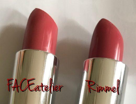 closeup of bullets of 2 coral lipsticks: FACE atelier & Rimmel Moisture Renew, neversaydiebeauty.com