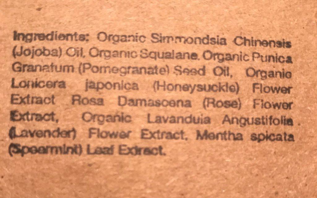 Amalie Beauty REWIND Face Oil ingredient list, neversaydiebeauty.com