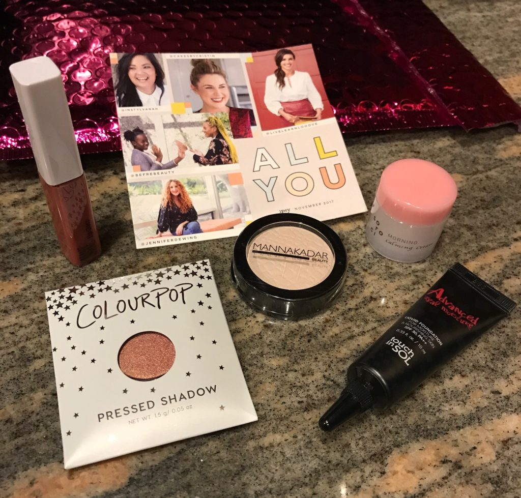 contents of November 2017 Ipsy bag, neversaydiebeauty.com