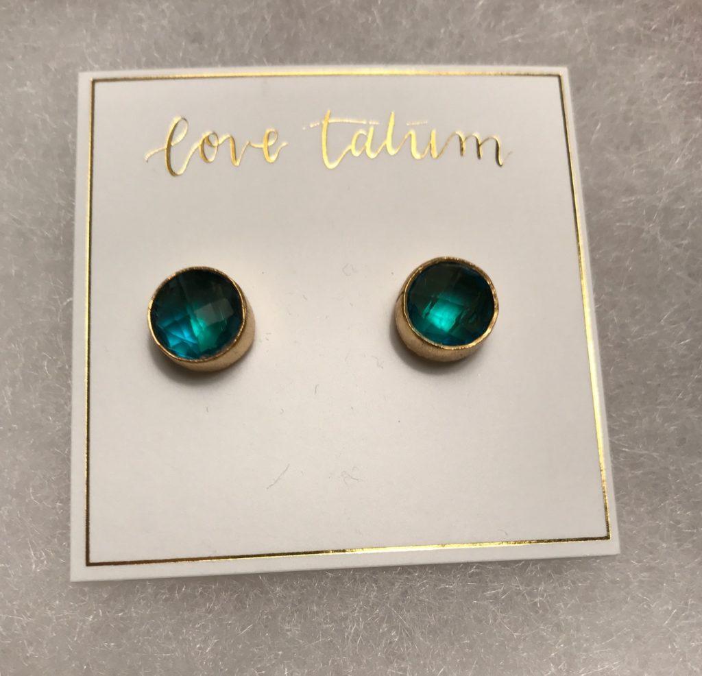 love tatum teal & gold stud earrings, neversaydiebeauty.com