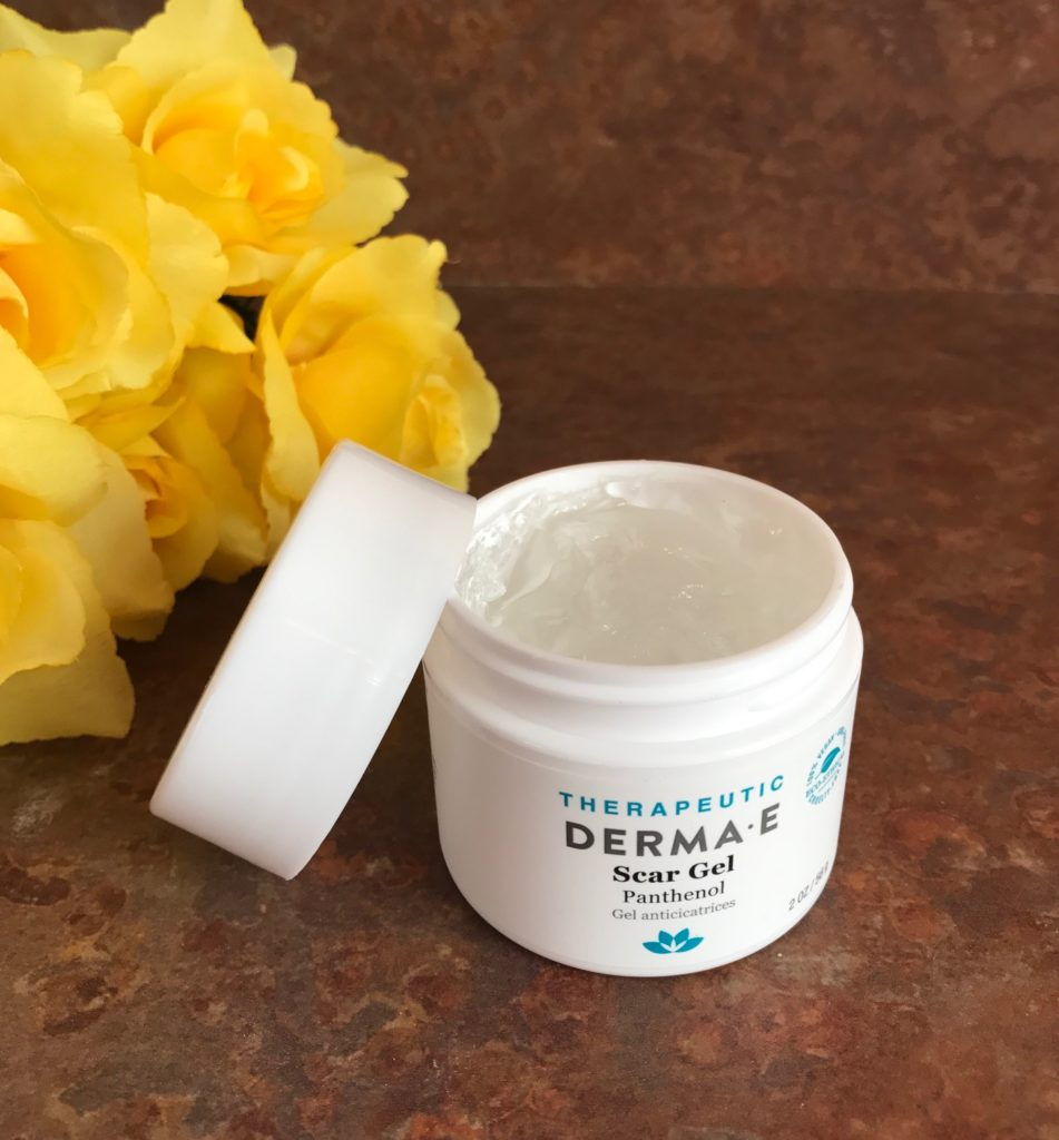 Derma E Scar Gel container open to show clear gel inside, neversaydiebeauty.com