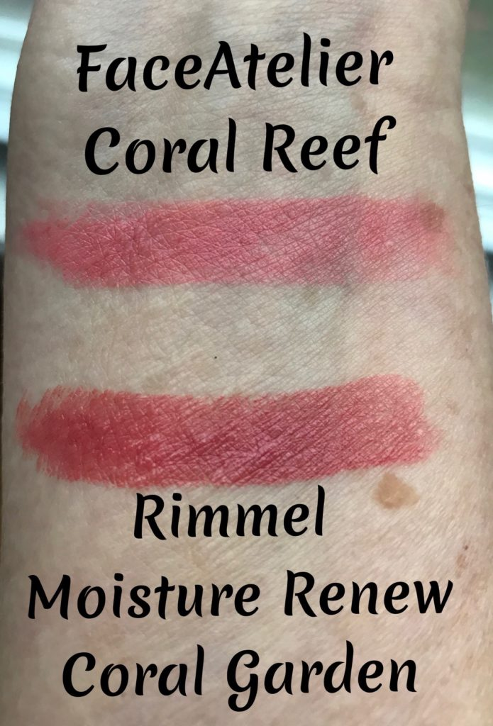 swatches of two coral lipsticks: FACE atelier Coral Reef and Rimmel Moisture Renew Coral Garden, neversaydiebeauty.com