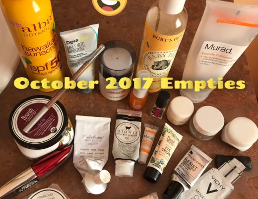 cosmetics empties for October 2017 with title, neversaydiebeauty.com