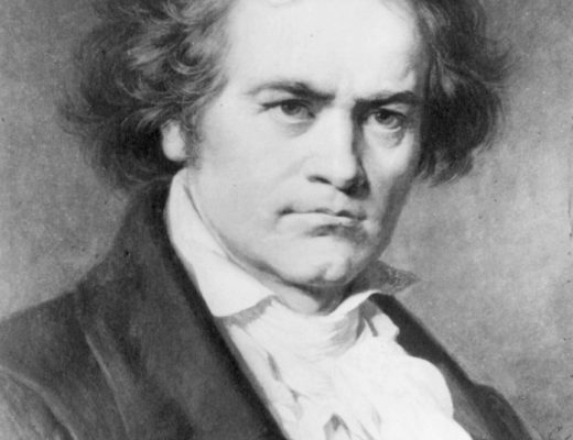 black and white portrait of Beethoven