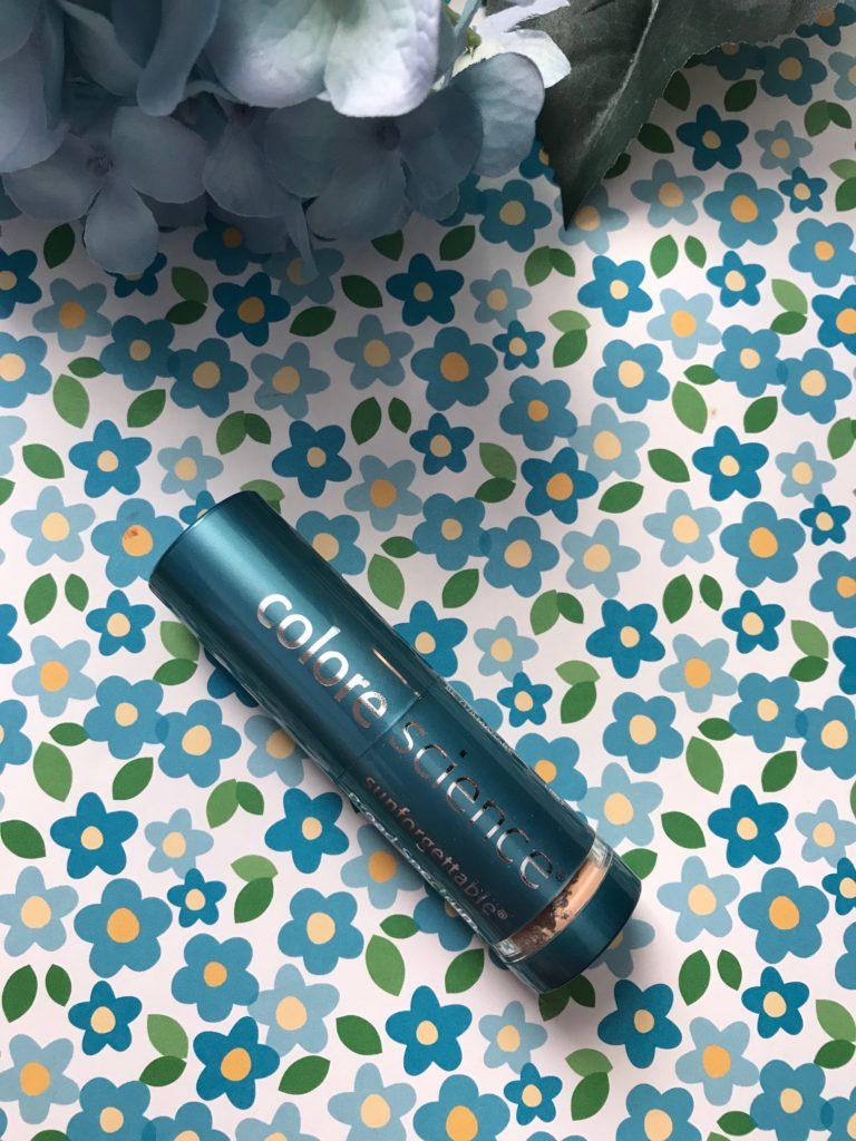 tube of mini tube of Colorescience Brush-On Sunscreen SPF 50, neversaydiebeauty.com