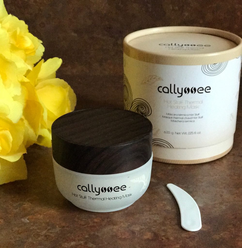 Callyssee Hot Stuff Thermal Heating Mask outer packaging, jar and scoop, neversaydiebeauty.com