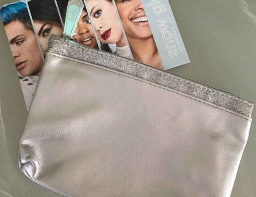 Ipsy Snow Glow silver faux leather makeup bag and product card, neversaydiebeauty.com