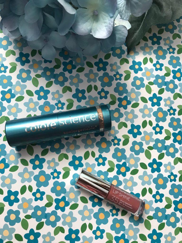 Colorescience Brush-On Sunscreen SPF 50 and Lip Shine SPF 35 minis, neversaydiebeauty.com