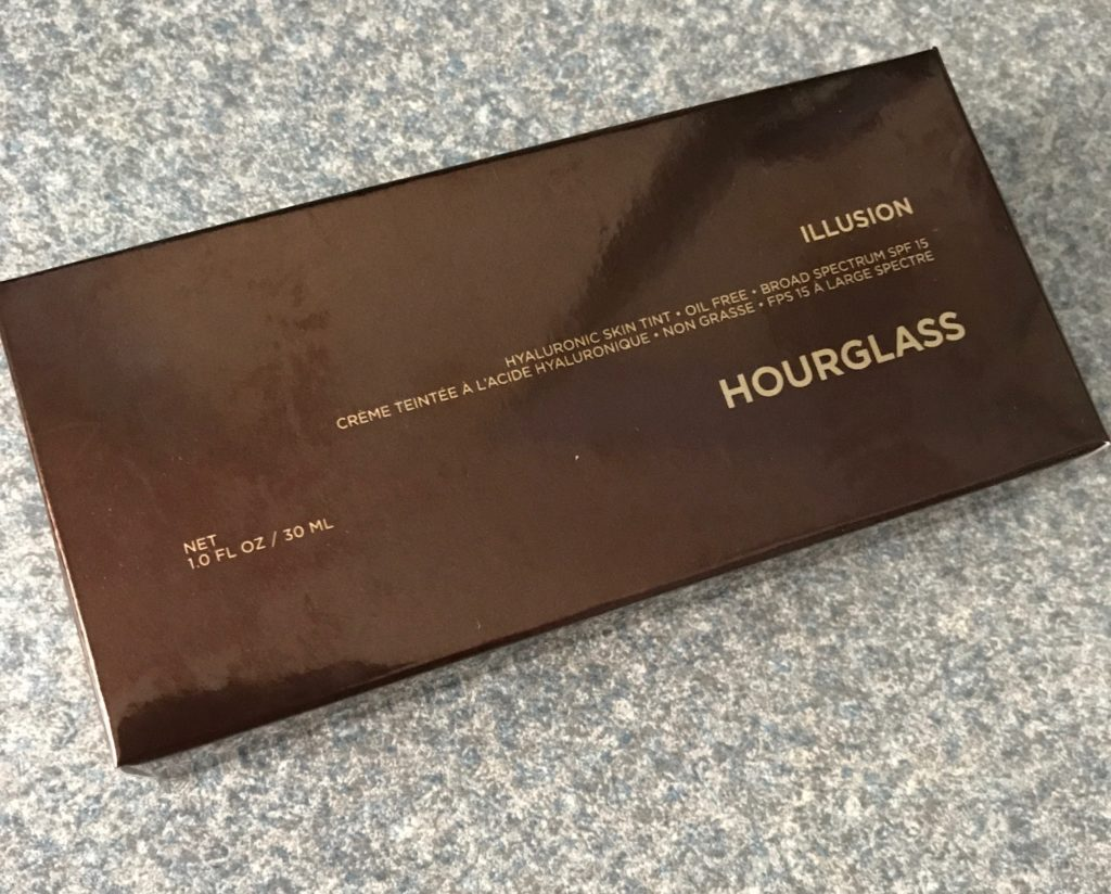 outer box for Hourglass Illusion Hyaluronic Skin Tint foundation, neversaydiebeauty.com