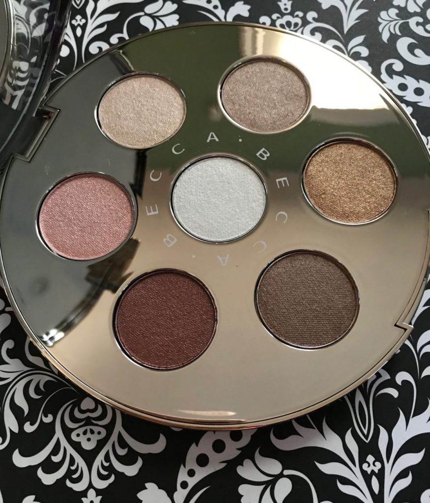 closeup of the shades in the BECCA Apres Ski Eye Lights shadow palette, neversaydiebeauty.com