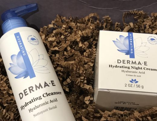 closeup of Derma E Hydrating Cleanser and Night Cream in the shipping box, neversaydiebeauty.com