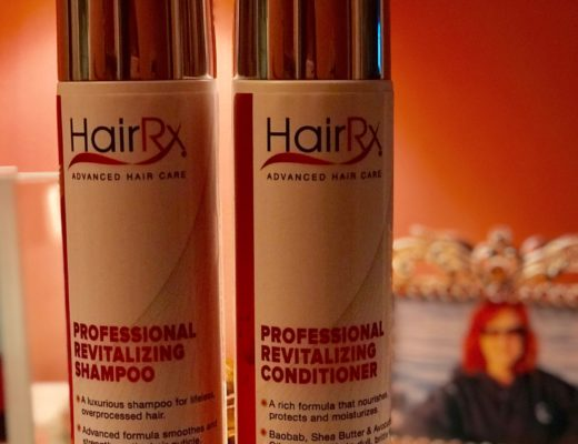 closeup of HairRx Shampoo and Conditioner bottles, neversaydiebeauty.com
