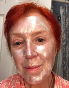 me with a silver face wearing GlamGlow GravityMud Firming Treatment, neversaydiebeauty.com