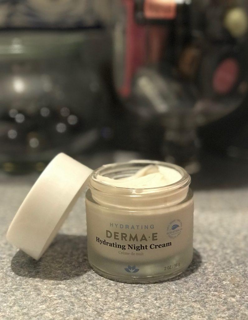 open jar of Derma E Hydrating Night Cream to show the rich cream, neversaydiebeauty.com