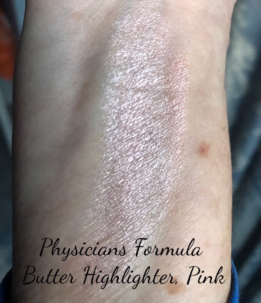 swatch of pink Physicians Formula Butter Highlighter, neversaydiebeauty.com