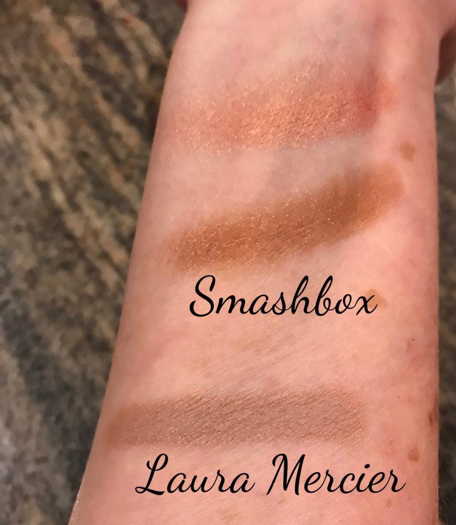swatches of the Smashbox Golden Hour shadow duo & Laura Mercier Caviar Stick in Au Naturel, neversaydiebeauty.com