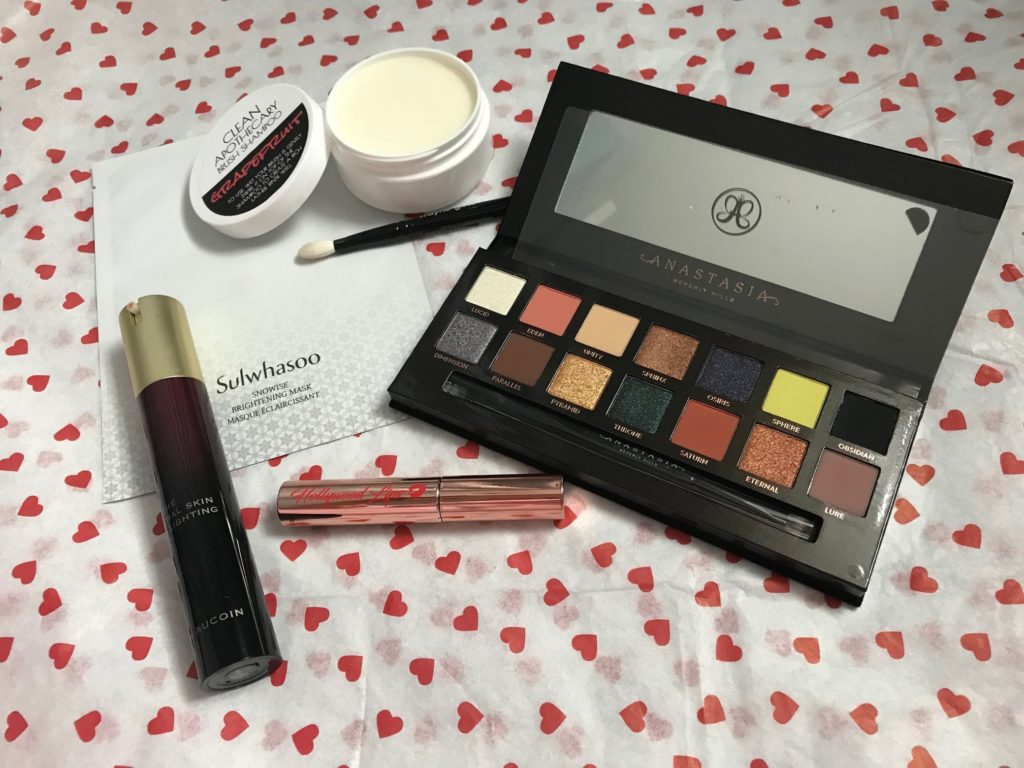 Beautylish Lucky Bag 2018 contents open to show the products and colors, neversaydiebeauty.com