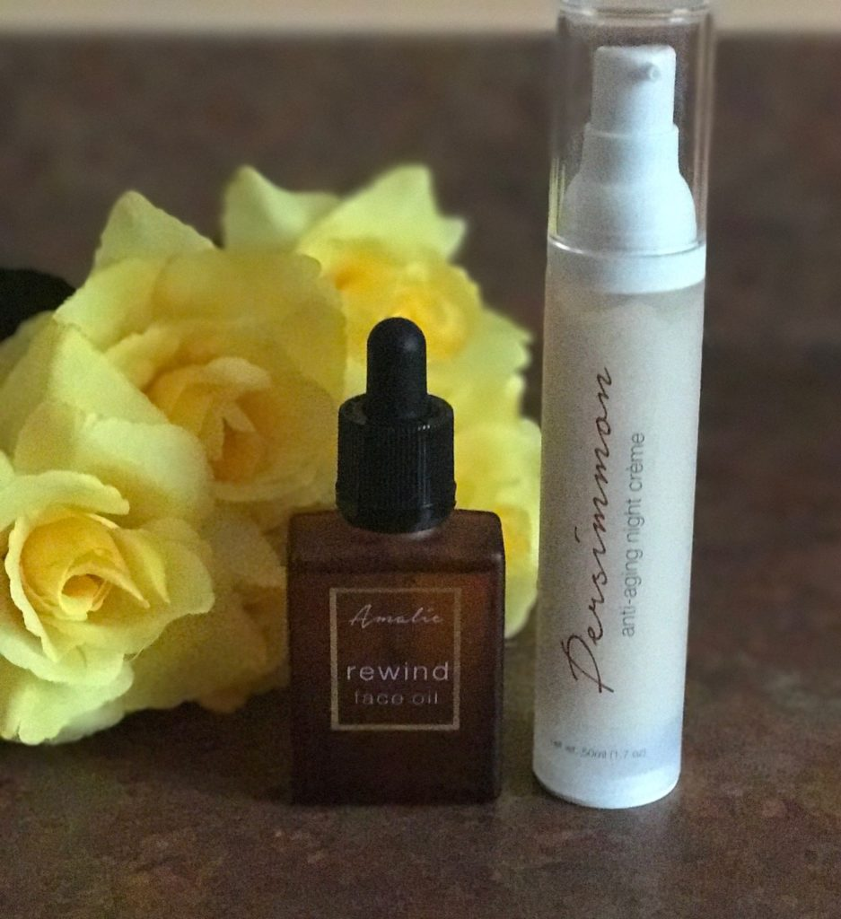 Amalie Beauty REWIND Face Oil & Persimmon Night Creme from the Farm to Face collection, neversaydiebeauty.com