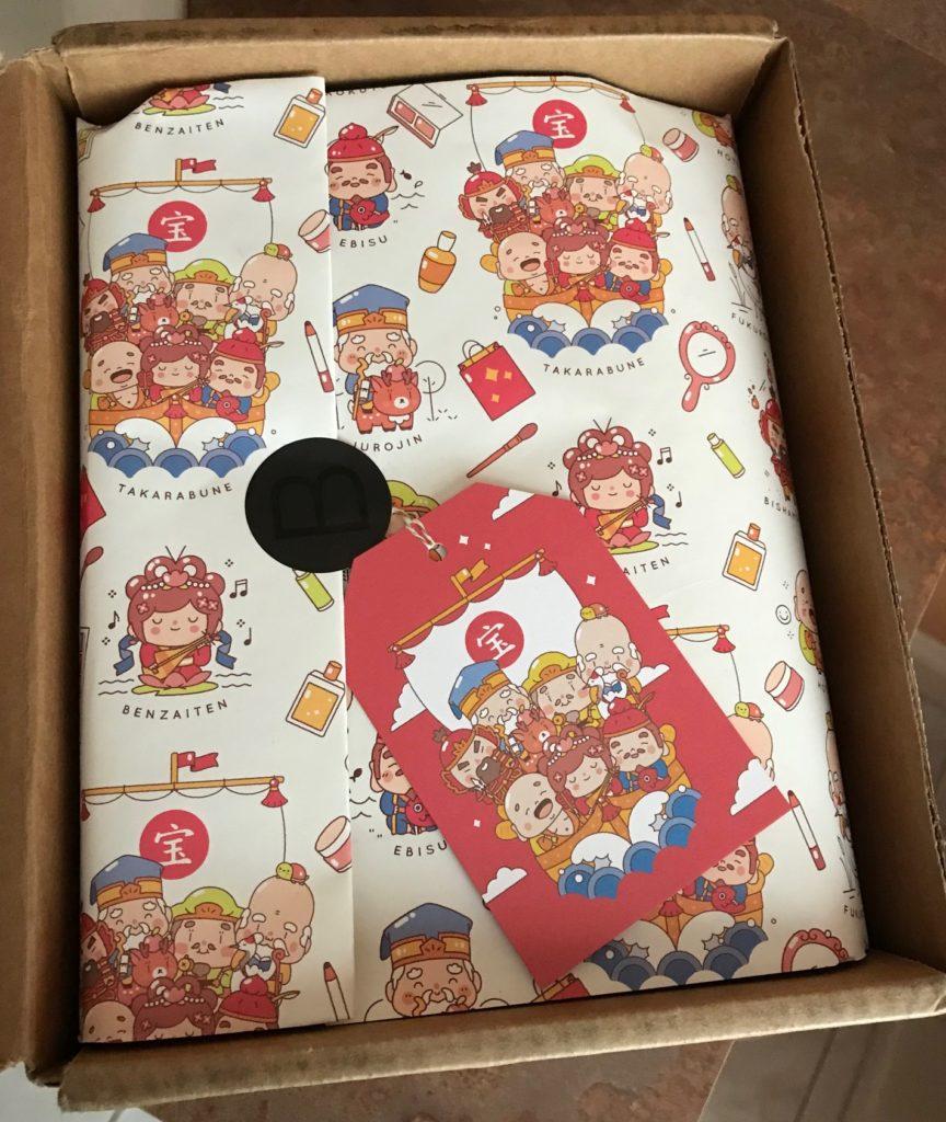 Japanese wrapping paper inside Beautylish Lucky Bag 2018, neversaydiebeauty.com