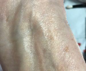 Kevyn Aucoin The Celestial Skin Liquid Lighting blended on my inner arm, neversaydiebeauty.com