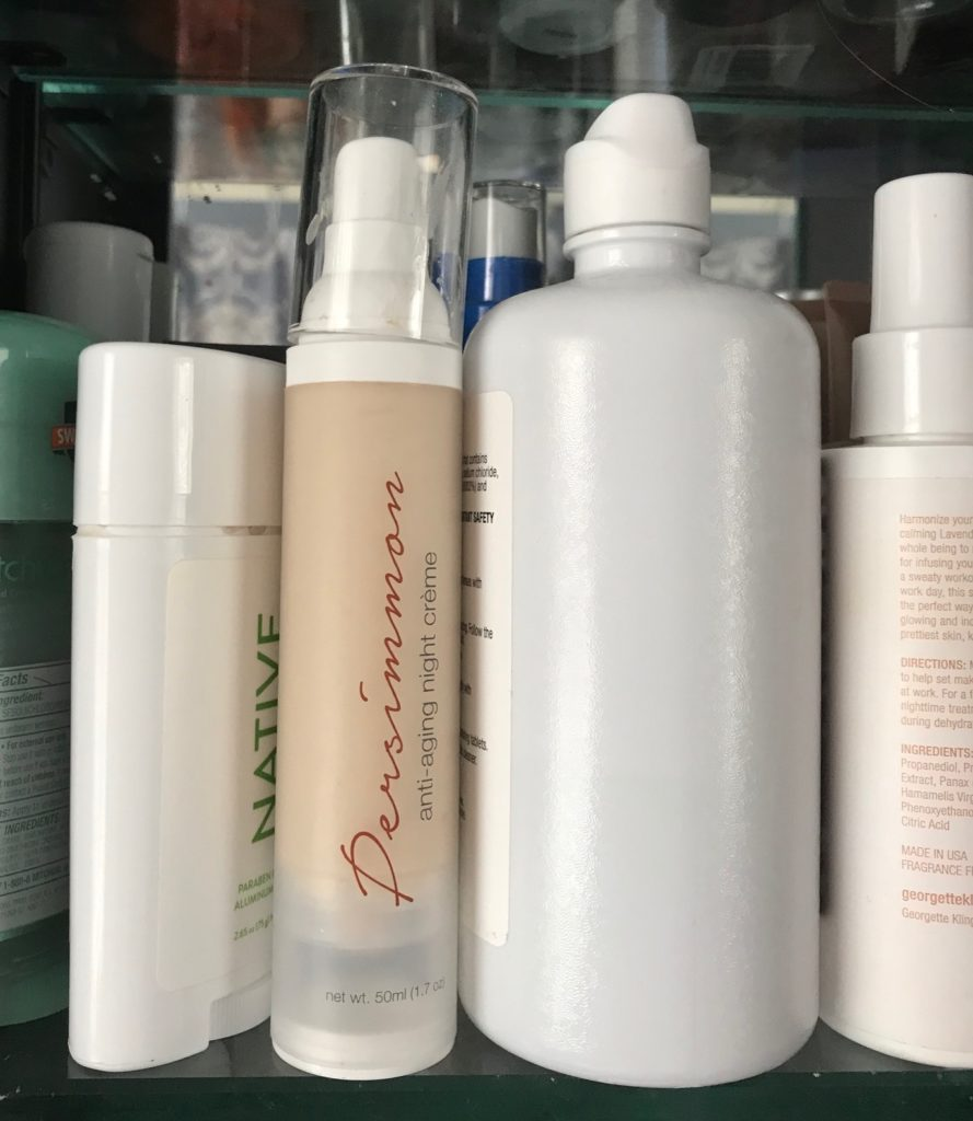 Persimmon Anti-aging Night Creme on the shelf with my other cosmetics, neversaydiebeauty.com