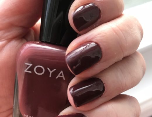 Zoya nail polish, Mona, a deep burgundy plum cream: my nails and the bottle, neversaydiebeauty.com
