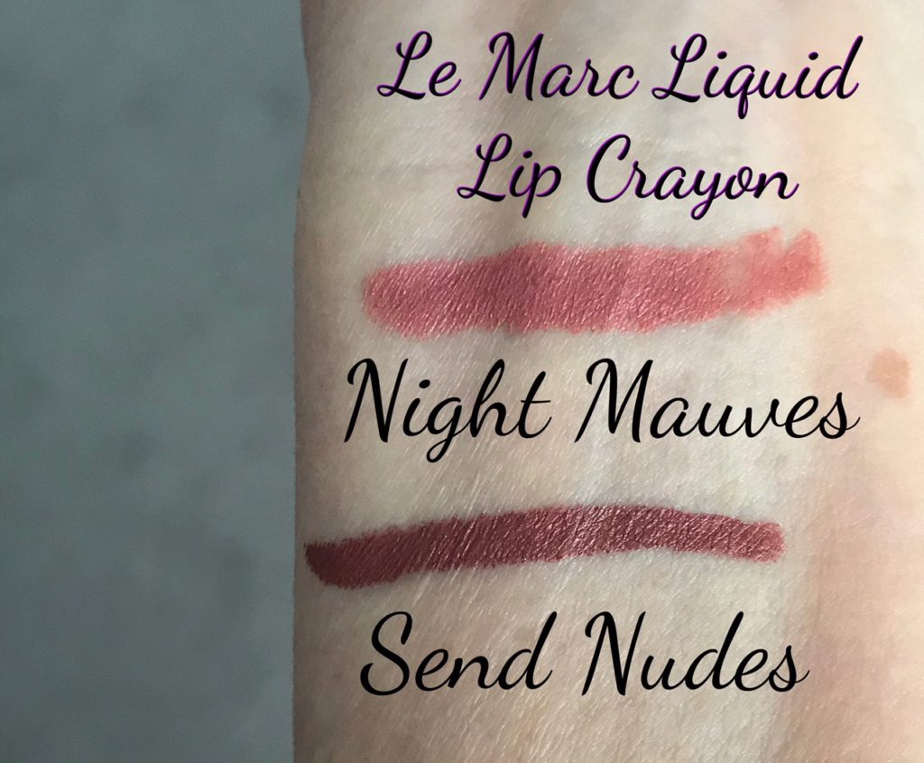 swatches of Marc Jacobs Le Marc Liquid Lip Crayons in Night Mauves and Send Nudes shades, neversaydiebeauty.com